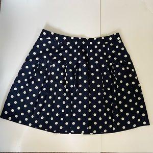 J Crew navy polka dot skirt